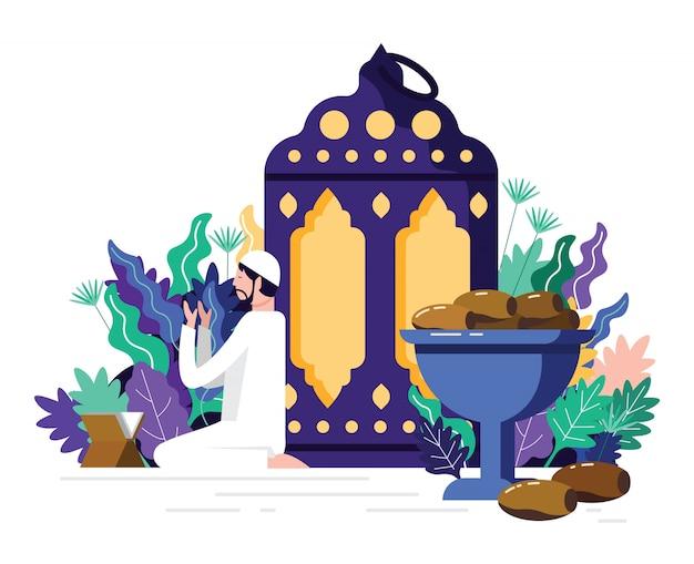 Moslemischer mann, der namaaz, islamisches gebet für den heiligen monat der ramadan kareem-feier liest.