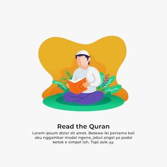 Moslemischer mann, der quran das heilige buch des islams mit blatt- und blumennatur liest. ramadan