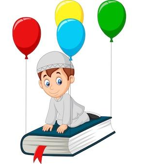 Moslemischer schüler der karikatur, der auf ein buch fliegt