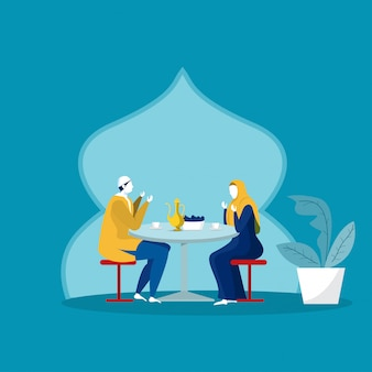 Moslemisches familienessen im ramadan kareem