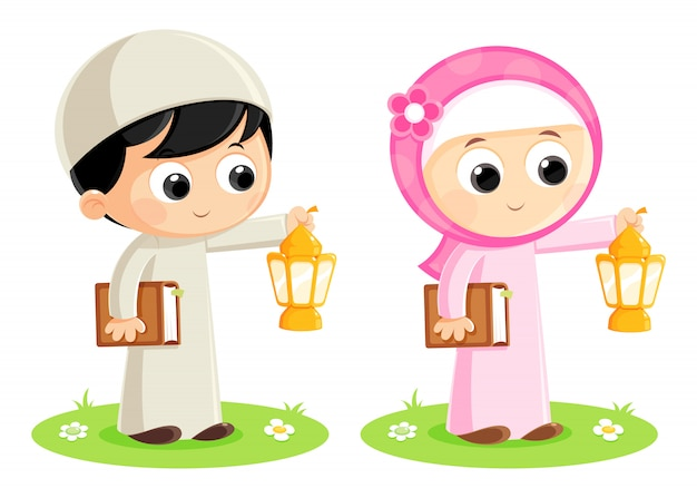 Moslems, die ramadan-laternen tragen
