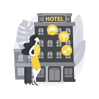 Motelservice. motel, bed & breakfast-service, zimmer zu vermieten, unterkunft, begehbares hotel, fahrerhaus, kurzfristige unterkunft. Premium Vektoren
