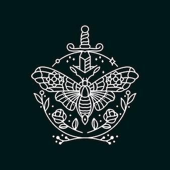 Moth mono-line design