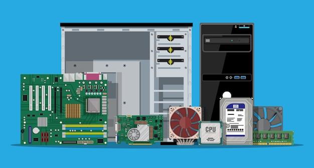 Motherboard, festplatte, cpu, lüfter, grafikkarte, speicher, schraubendreher und gehäuse.