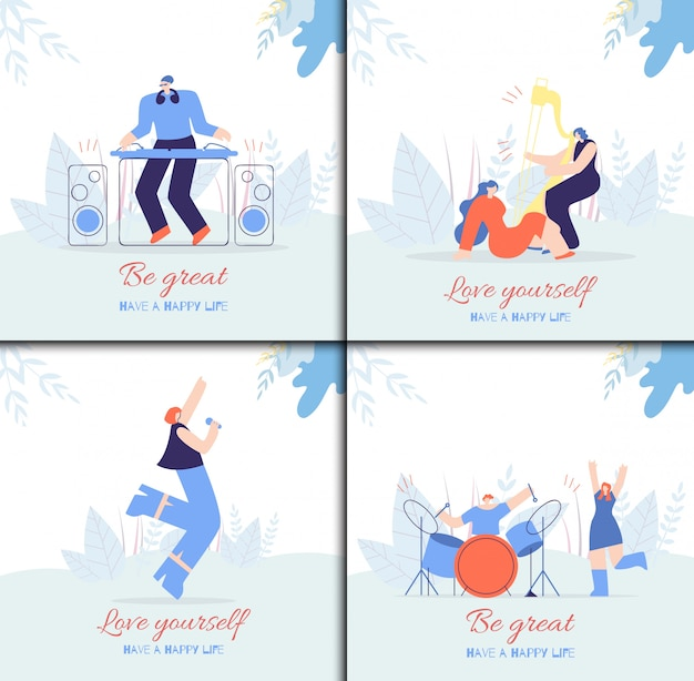 Motivation people card set in dance music style