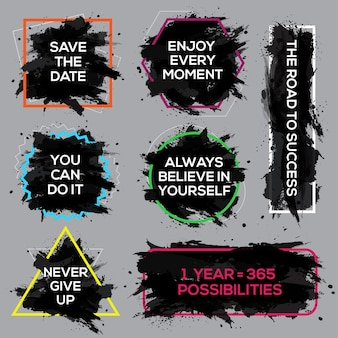 Motivations-tinten-poster-set textbeschriftung eines inspirierenden spruchs