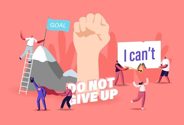 Motivations- und aspirationskonzept. winzige charaktere überwinden hindernisse, klettern auf felsen, erreichen ziele, erklimmen neue höhen. menschliche innere ressourcen, riesige erhobene faust. cartoon-menschen-vektor-illustration