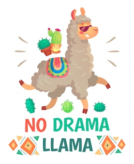Motivationsbeschriftung ohne drama-lama. kühles lustiges gekritzelalpaka oder peru-symbollama mit sonnenbrille