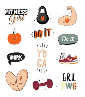 Motivationsdruck mit sport- und fitnesselementen im doodle-stil, einschließlich trendiger zitate und cooler stilisierter elemente.