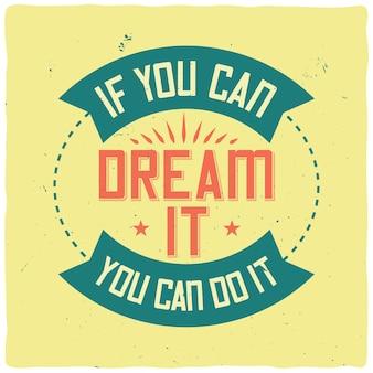 Motivationsplakat mit inspirierendem zitat
