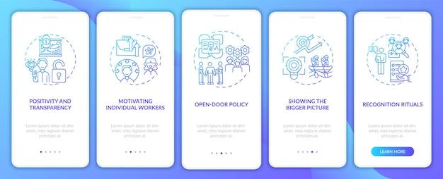 Motivationsstrategien für mitarbeiter auf dem bildschirm der mobilen app-seite mit konzepten