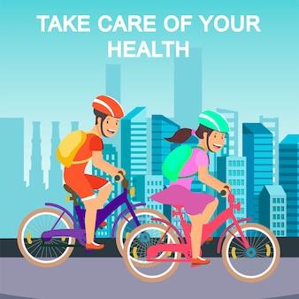 Motivieren sie flache illustration mit radfahrern auf stadtstraße