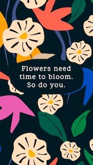 Motivierende social-media-story-vorlage, bearbeitbarer botanischer designvektor