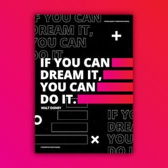 Motivierende zitate typografisches plakat