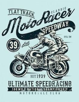Moto-rennläufer-klassiker, vintager illustrationsentwurf