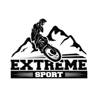 Moto track oder motocross jump logo vector