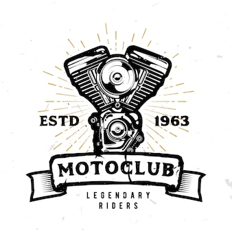 Motoclub-logo mit detailliertem motorradmotor im monochromen stil