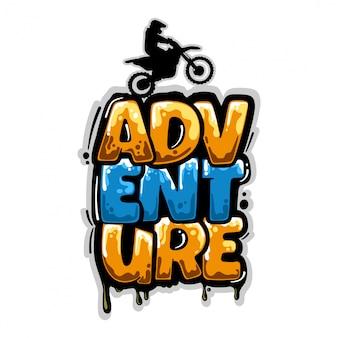 Motocross abenteuer graffiti schriftzug design