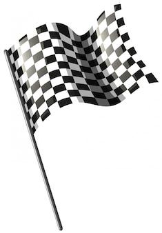 Motocross, der flagge auf weiß läuft