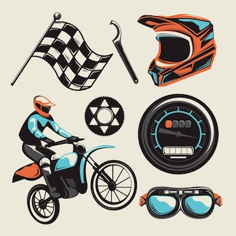 Motocross-elemente im retro-design