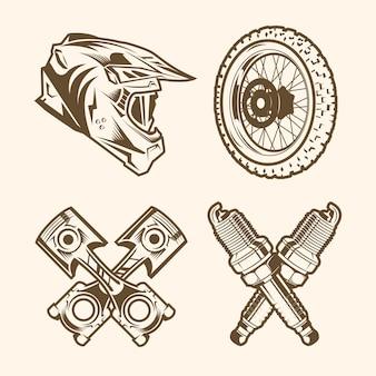 Motocross-elemente im retro-stil