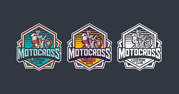 Motocross extreme club premium polygon abzeichen vorlage pack