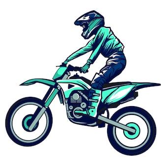 Motocross-fahrer fahren das motocross-bike