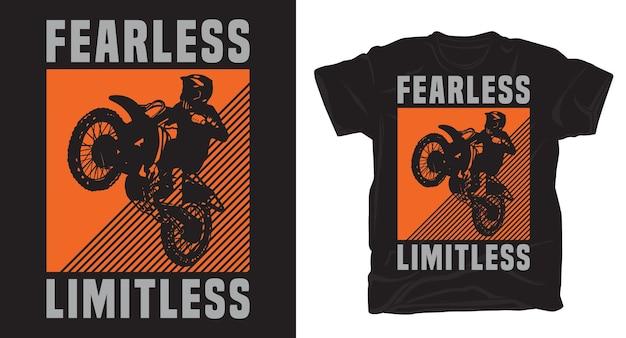 Motocross-fahrersilhouette mit typografie-t-shirt-design
