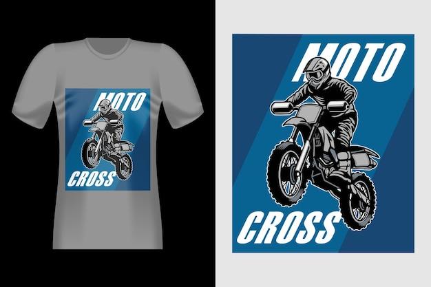 Motocross handgezeichnetes vintage t-shirt design