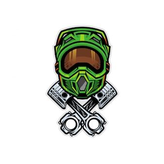 Motocross-helm und kolbenabzeichen