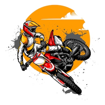 Motocross-illustrationsentwürfe auf volltonfarbe