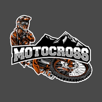 Motocross-log-vektor