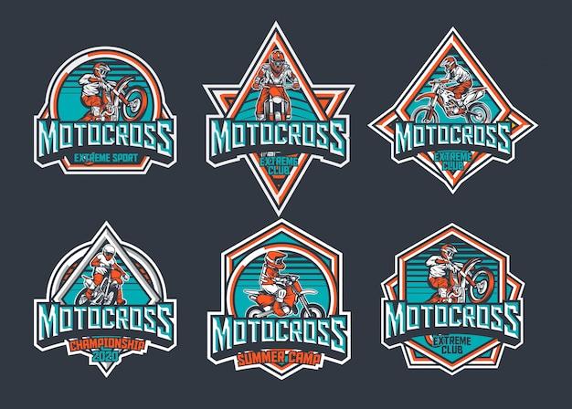 Motocross premium vintage abzeichen logo label design vorlage pack blaugrün rot