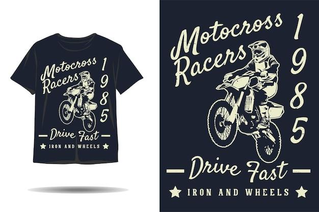 Motocross-rennfahrer fahren schnelles eisen- und räder-silhouette-t-shirt-design