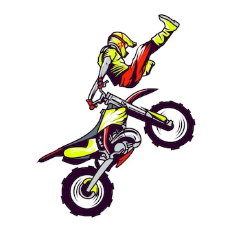 Motocross-rennfahrer-stunt. vektor-illustration
