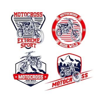 Motocross set emblem logo
