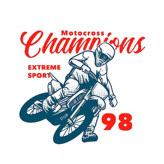 Motocross verficht extremsportillustration