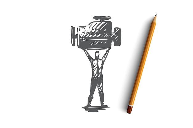 Motor, maschine, technologie, motor, turbokonzept. hand gezeichneter turbomotor in der mannhände-konzeptskizze. illustration.