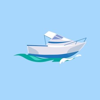 Motorboot schiff auf dem wasser.