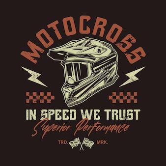 Motorcross helm retro grafikillustration Premium Vektoren