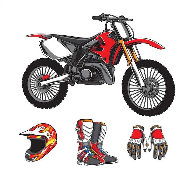 Motorcross-vektorsatz Premium Vektoren