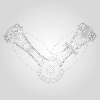 Motorkomponenten im zerlegten zustand. vektor-illustration von linien.