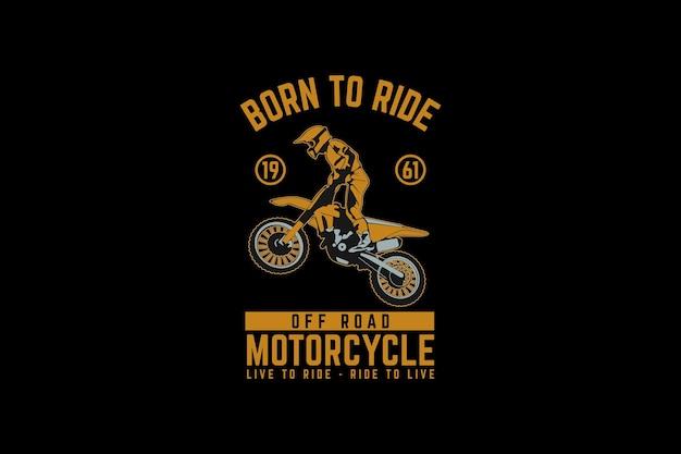 Motorrad abseits der straße, design-silhouette im retro-stil