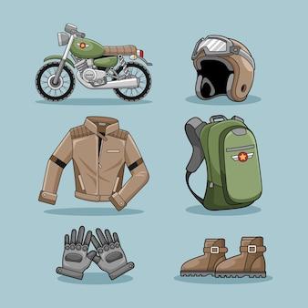 Motorrad-café-racer-set-design-vektor-sammlung