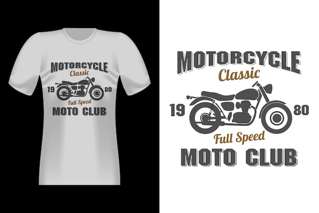 Motorrad classic bike herren mit silhouette vintage retro t-shirt design