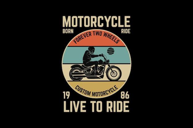 Motorrad, design-silhouette im retro-stil
