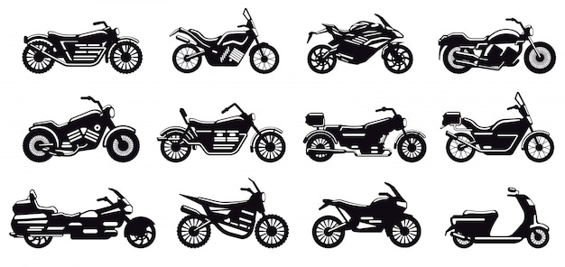 Motorrad fahrzeug silhouette. moderne geschwindigkeitsrennrad-, roller- und zerhackerseitenansicht, motorradkörperschattenbildillustrationsikonen gesetzt. schwarzes monochromes motorrad für lieferung oder motocross