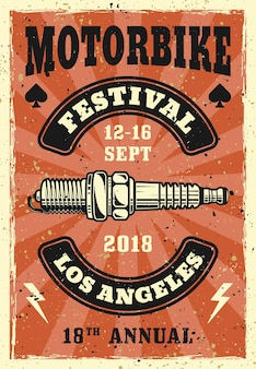 Motorrad festival vintage poster mit zündkerze