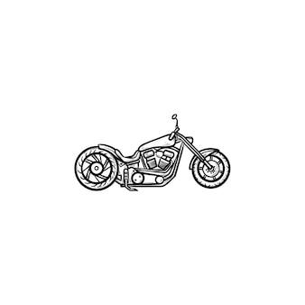 Motorrad handsymbol gezeichneten umriss doodle. motorrad und geschwindigkeit, rennfahrzeug und transportkonzept