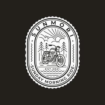 Motorrad line art logo und abzeichen vorlagen